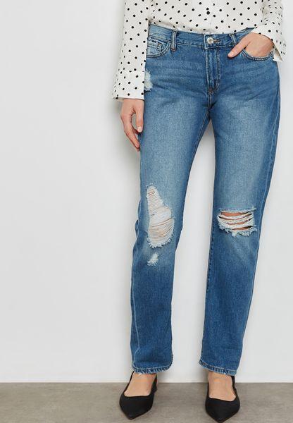 Ripped Denim Straight Jeans