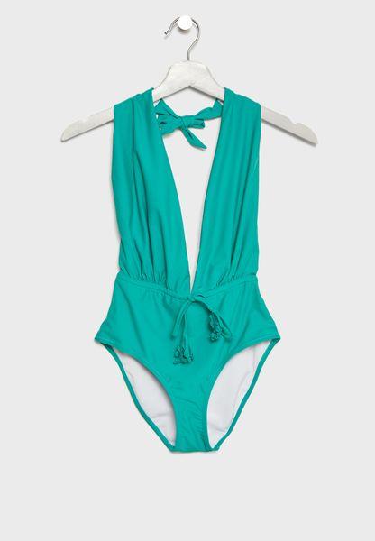 Halterneck Tie Waist Swimsuit