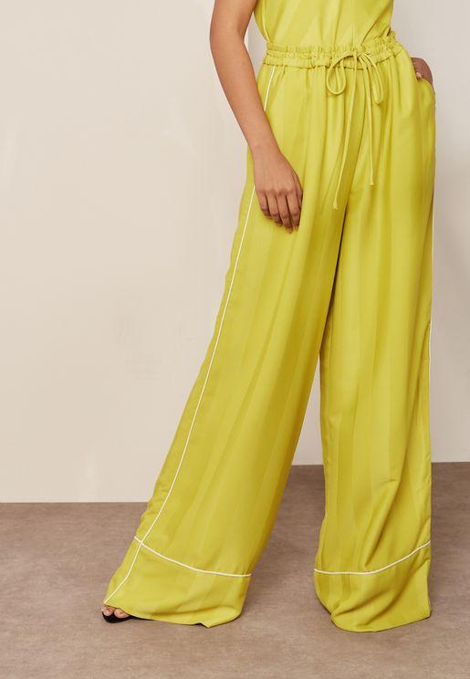 Tie Waist Wide Leg Stripe Detail Pants