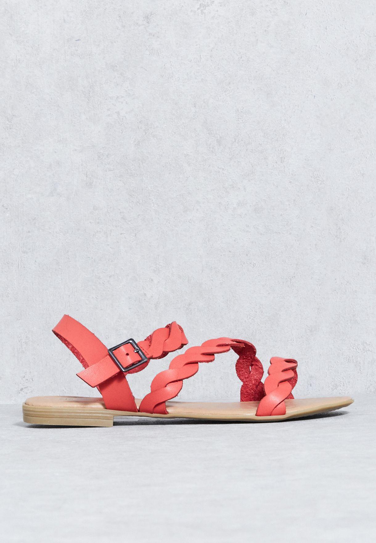 Flat Plaited Vamp Strap Sandal