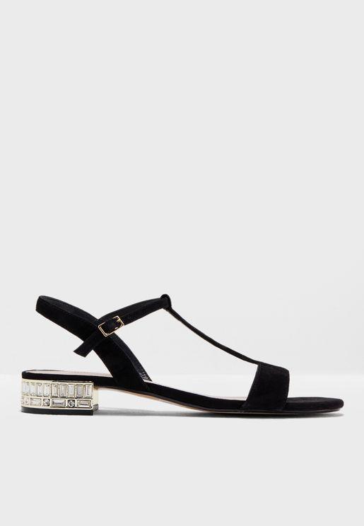 Mascara Jewelled Heel T Bar Sandals