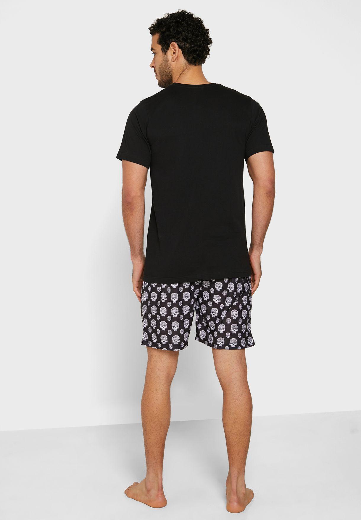 Skull Printed Shorts and T-Shirt Set