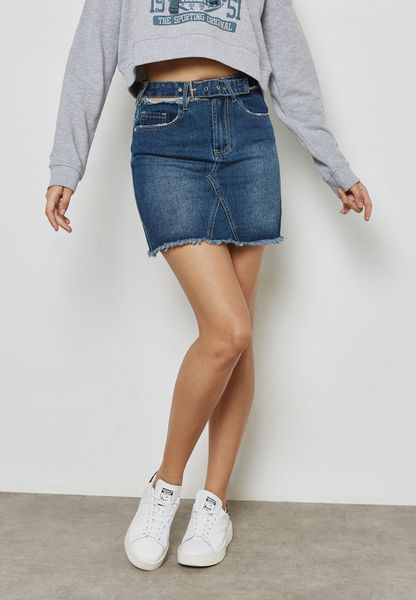 Cut-Out Waist Denim Skirt