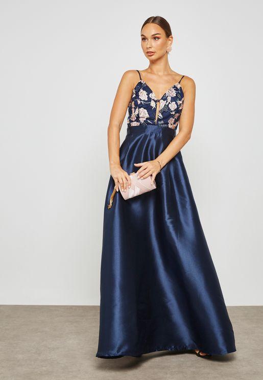 Floral Print Ball Dress