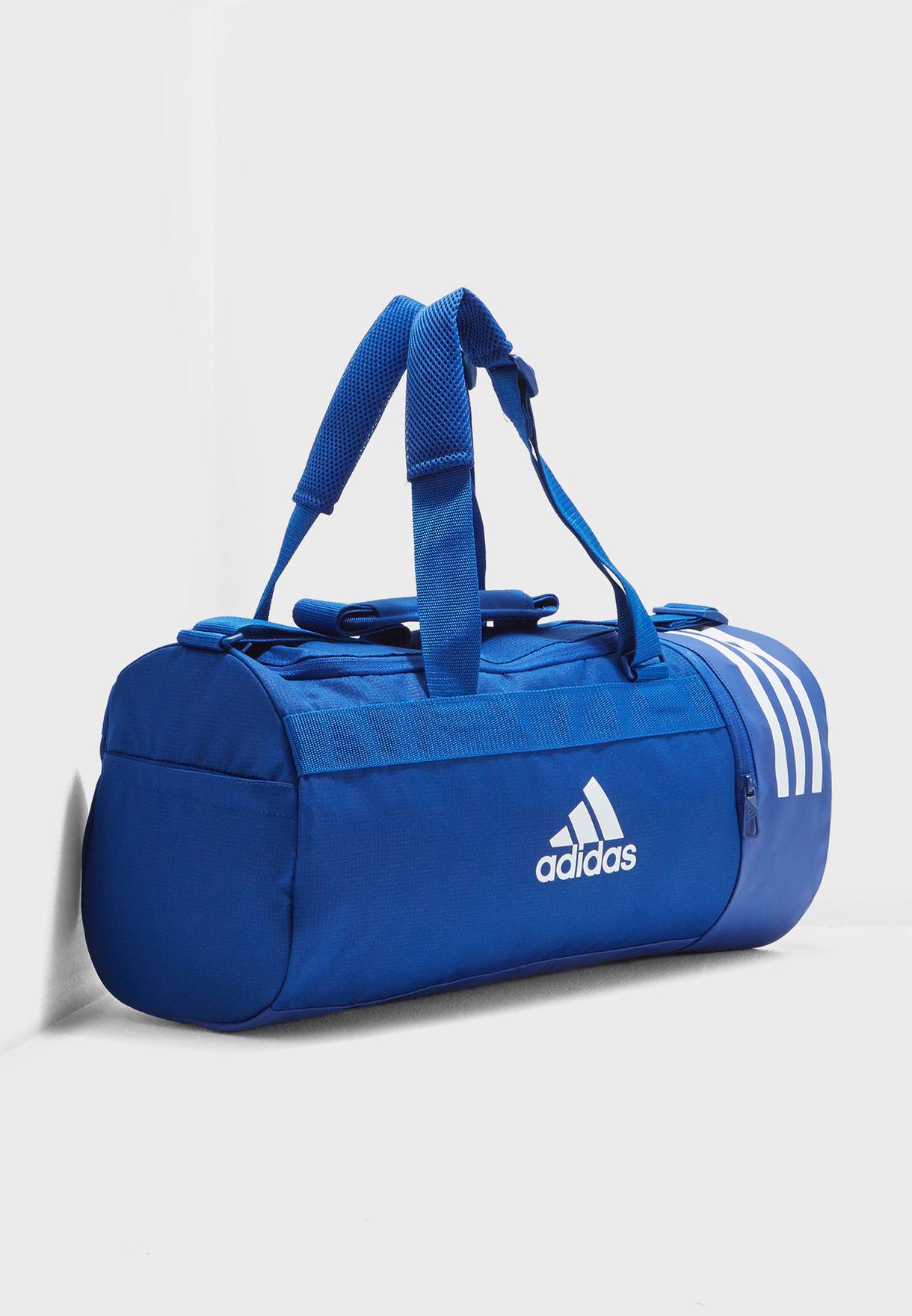 Shop adidas blue Small 3 Stripe Convertible Duffel DM7784 for Men in ... 0eb3d102c9054