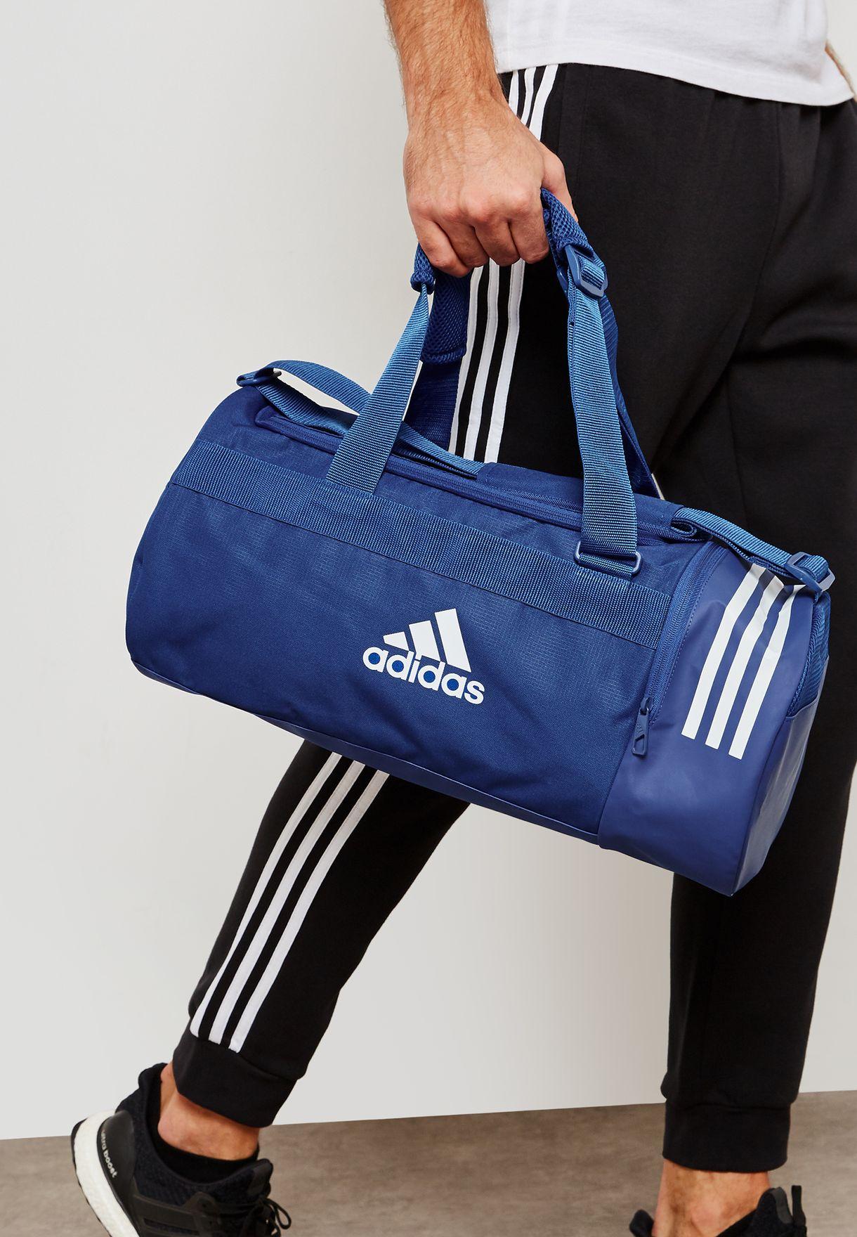 dedc06f3db00 Shop adidas blue Small 3 Stripe Convertible Duffel DM7784 for Men in ...