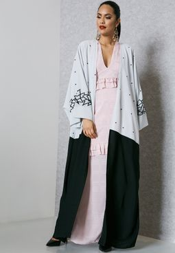 Colourblock Embroidered Top Abaya