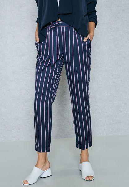 Striped Ankle Grazer Pants