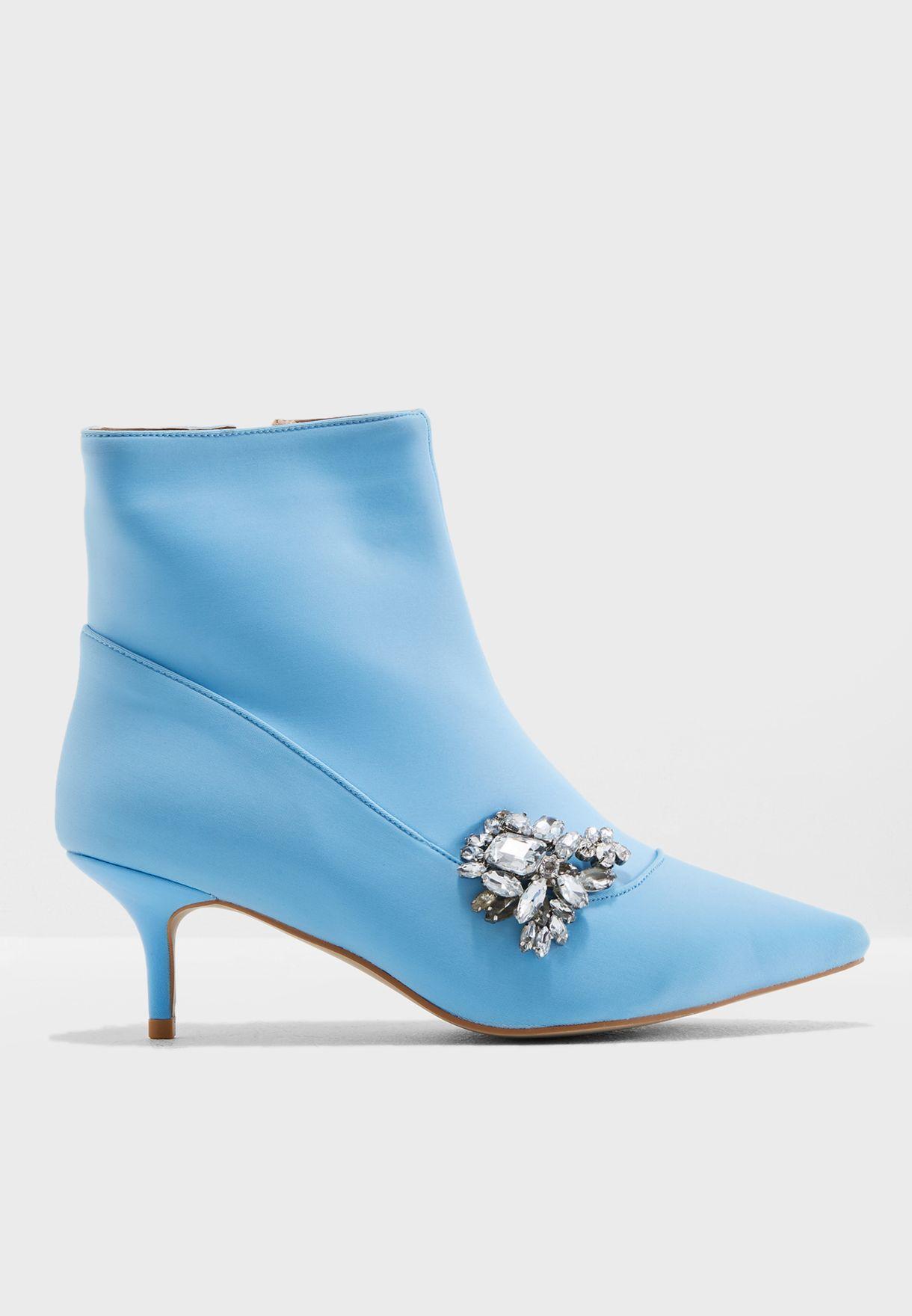 Gaze Silver Brooch Low Heel Ankle Boot