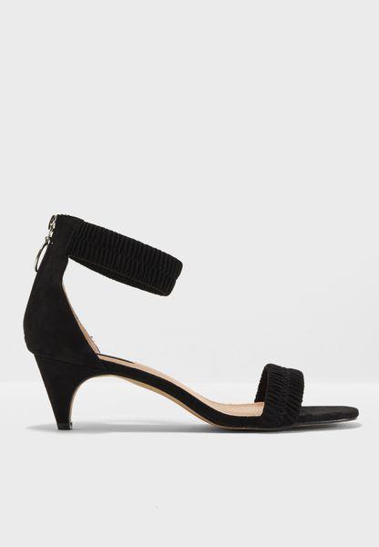 Black Ruched Kitten Heel Sandals - Black Lost Ink. xBMeMZe4Y