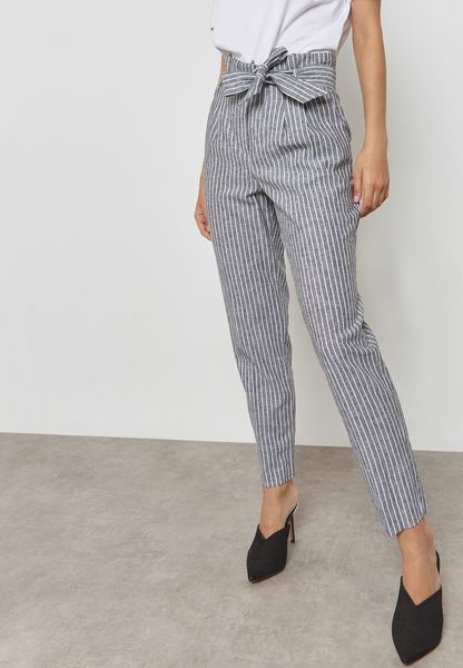 Striped Paper Bag Belted Pants