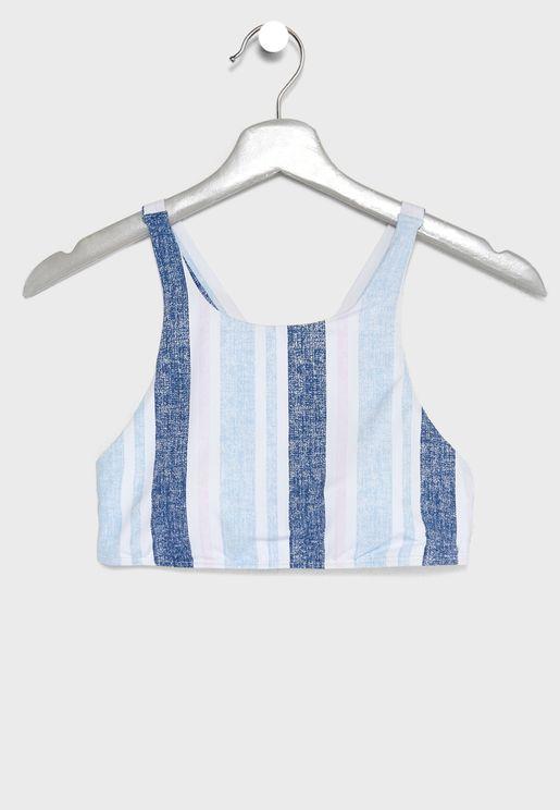 Striped Tank Bikini Top