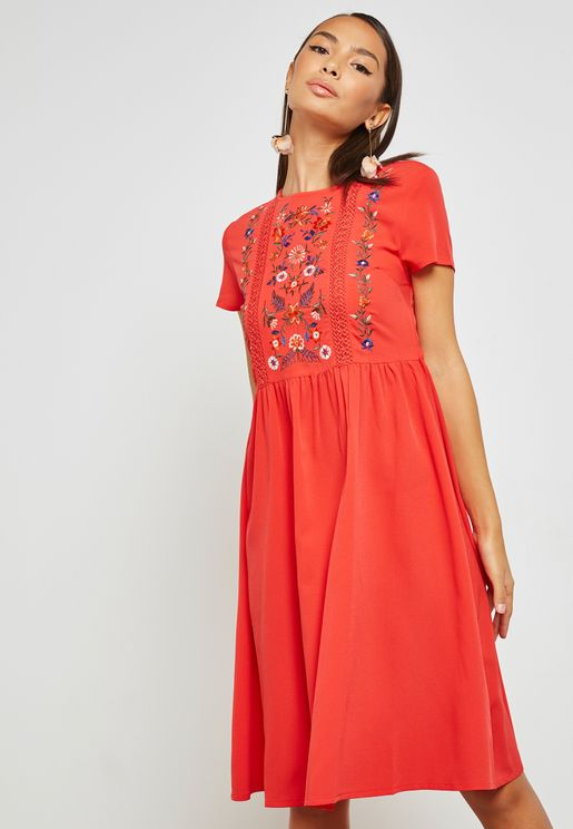 Embroidered Midi Skater Dress
