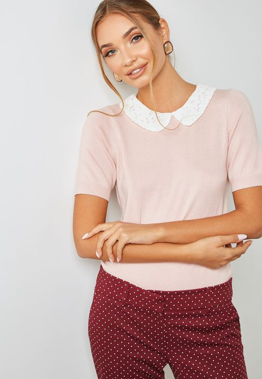 Lace Collar T-Shirt