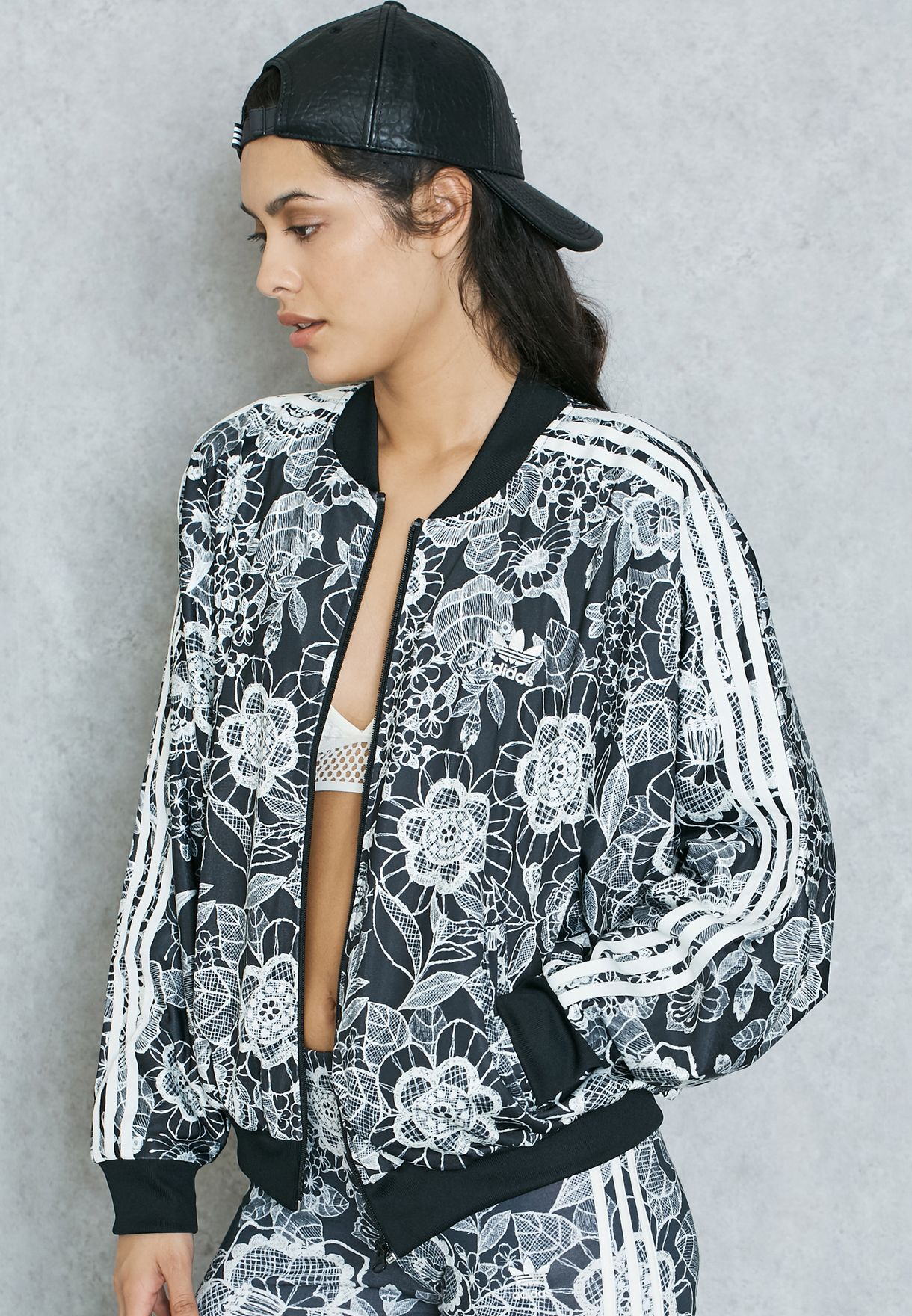 dd48359e18cf6c Shop adidas Originals prints Florido Jacket BP7181 for Women in ...