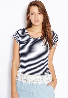 Ginger Striped Crochet Hem T-Shirt