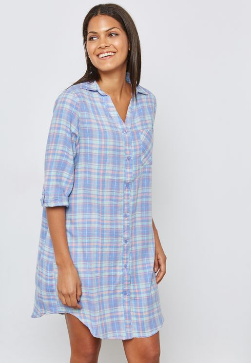 Checked long Sleeve Nightdress