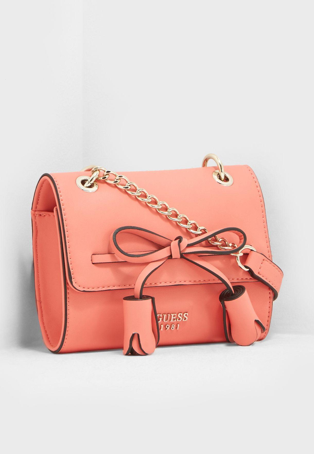 Shop Guess pink Leila Flap Crossbody VG696478COR for Women in UAE ... 0686f9f0093e4