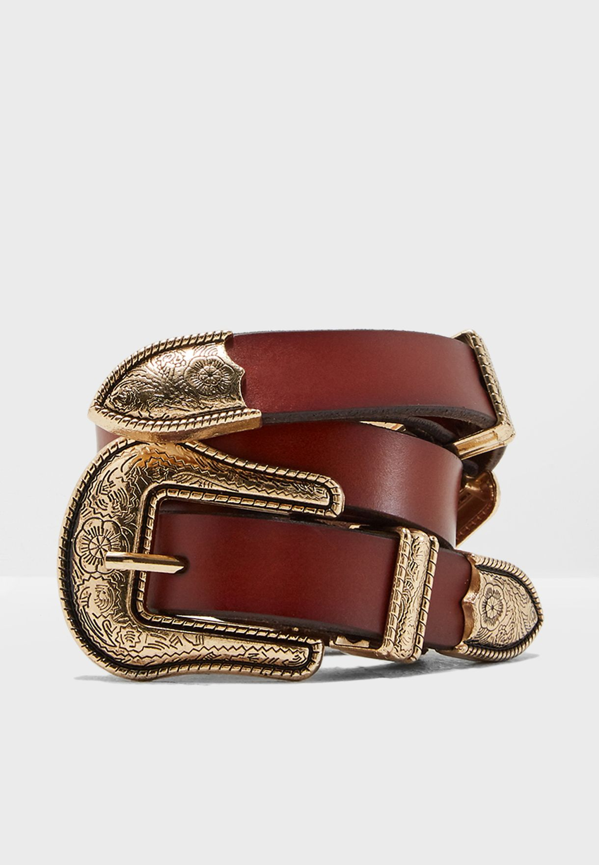 Two Buckles Double Belt