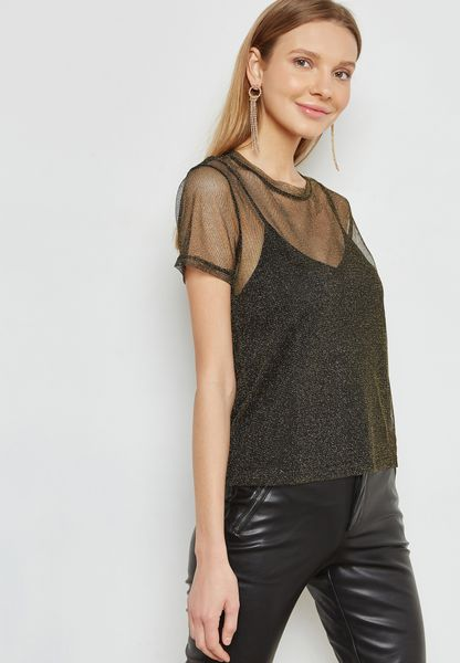 Sheer Overlay Metallic Top