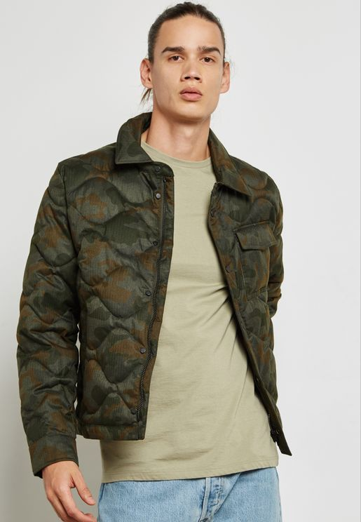 Camo Printed Quilted Jacket