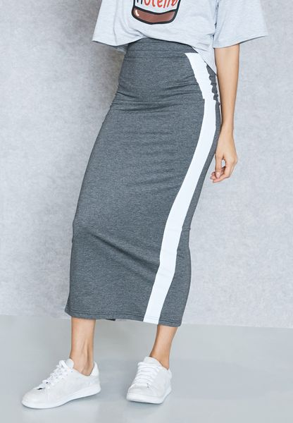 Contrast Side Back Slit Maxi Skirt