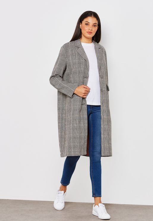 Checked Plaid Longline Coat