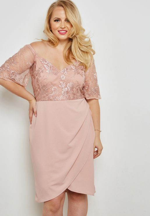 Lace Detail Wrap Skirt Dress