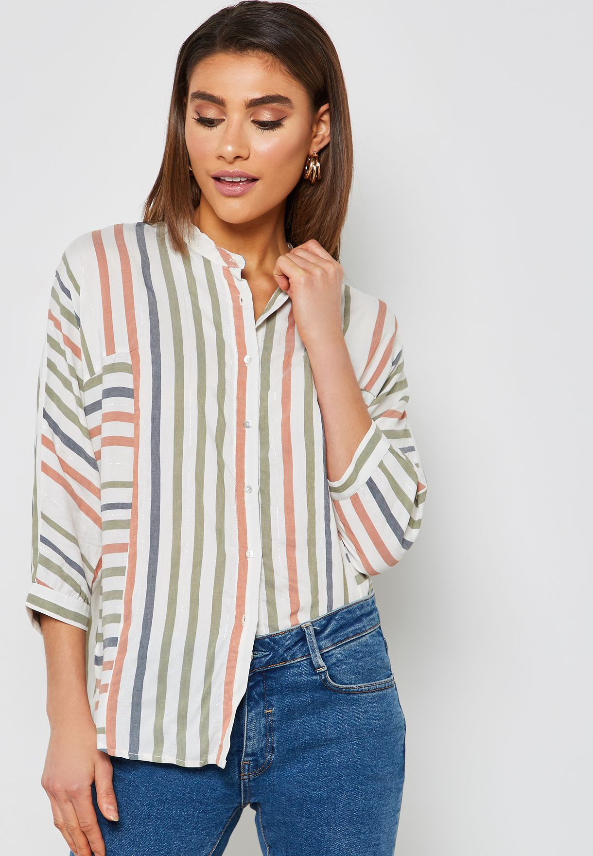5c26ce432ddb6 Shop Koton prints Striped Shirt 9KAK68838CWGREEN STRIPE for Women in ...