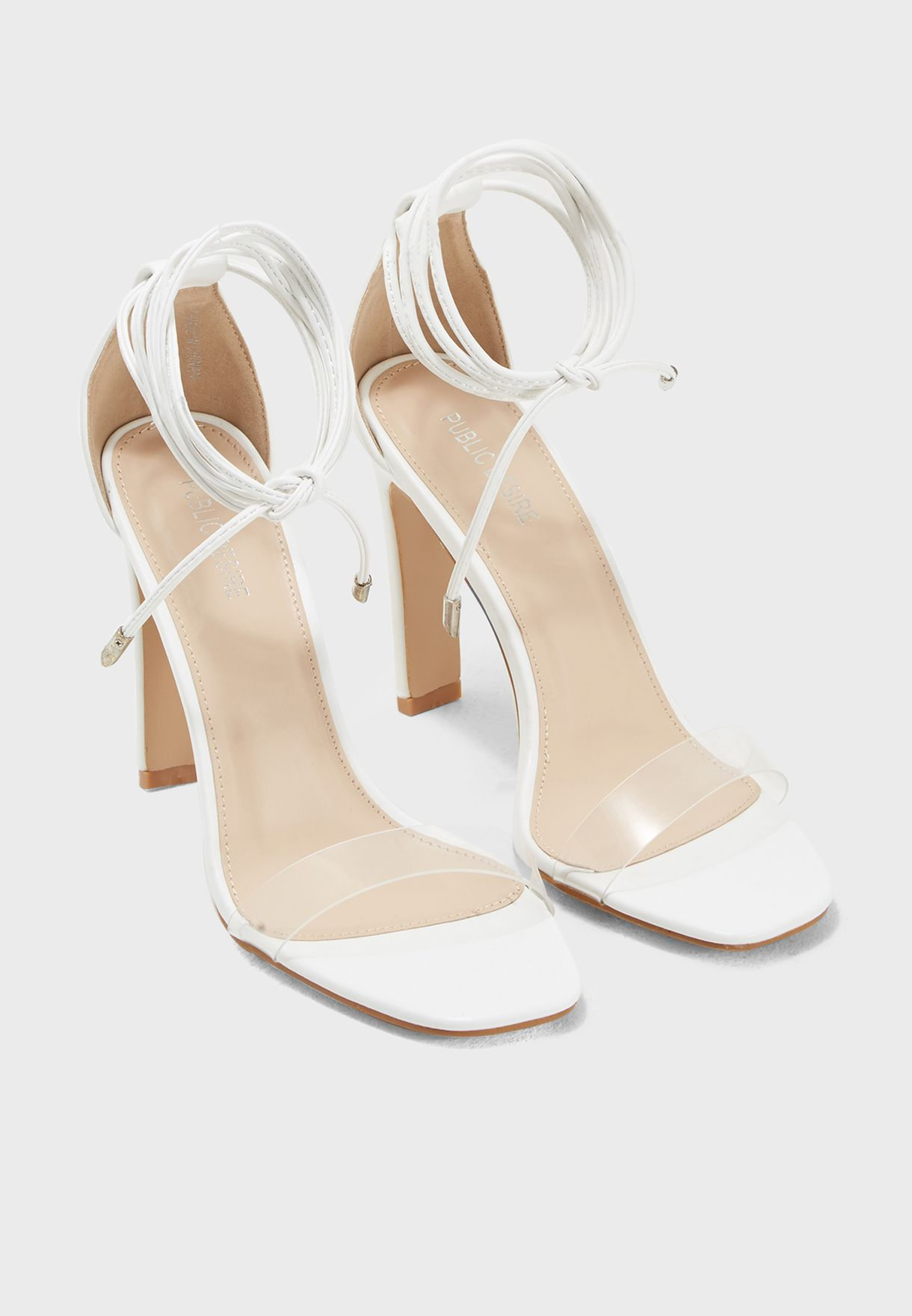 6951997822e Shop Public Desire clear Tierra Lace Up Perspex Barely There Heel ...