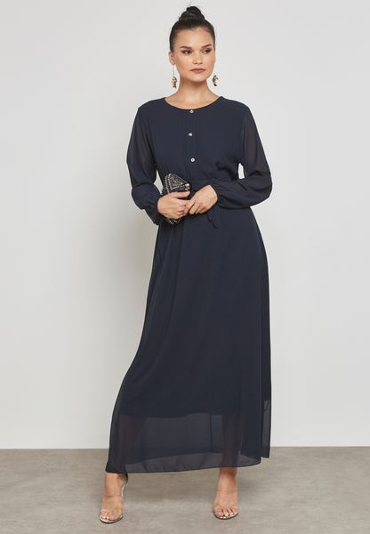 Belted Buttoned Maxi Dress