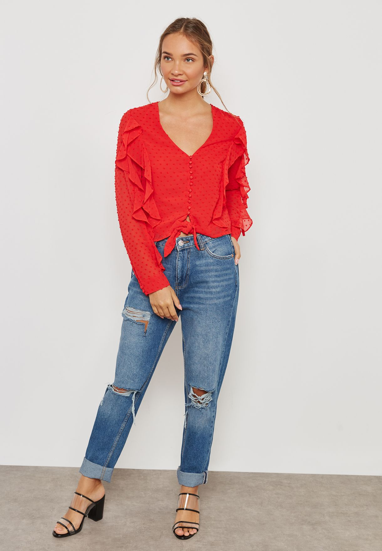 Front Tie Ruffle Detail Top