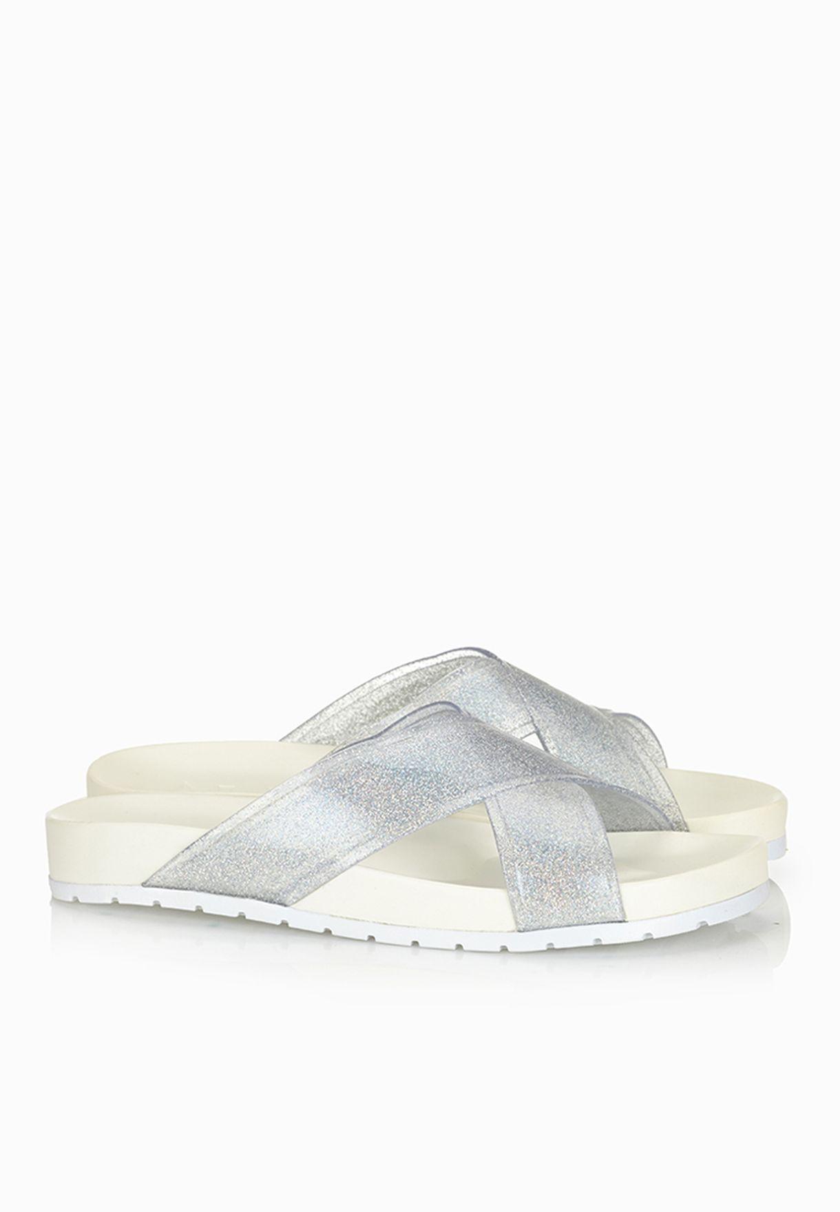 4a8293535 Shop Aldo silver Valery Cross Strap Jelly Sandals for Women in Qatar ...