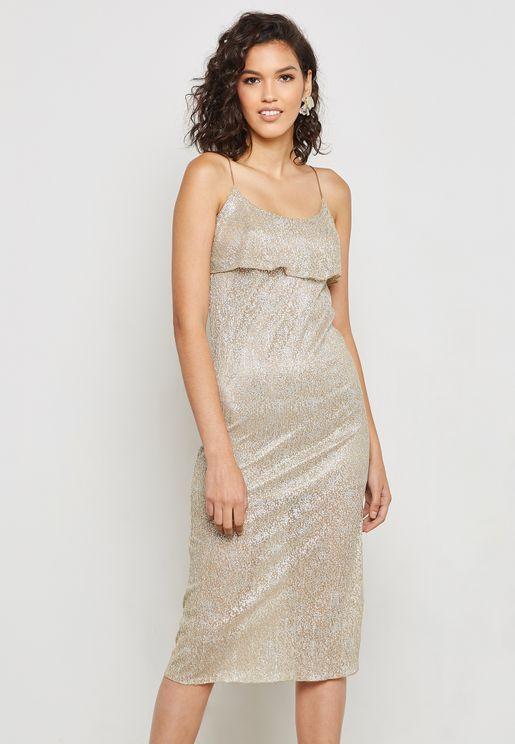 فستان لامع بحمالات
