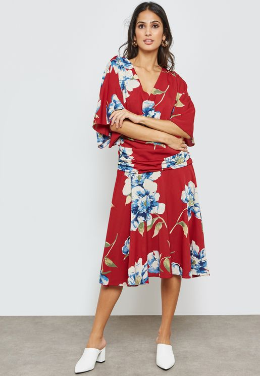 Floral Print Kimono Sleeve Midi Dress
