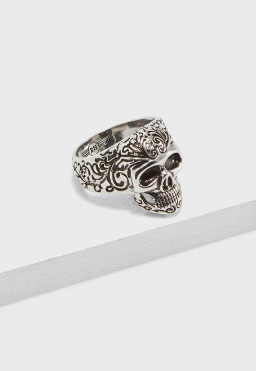 Engraved Detail  Skull Ring