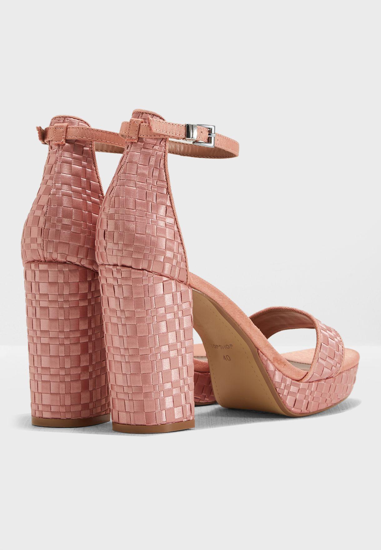 84943d7b78cb Shop Topshop pink Sloane Woven Platform Sandal 32S09NPNK for ...