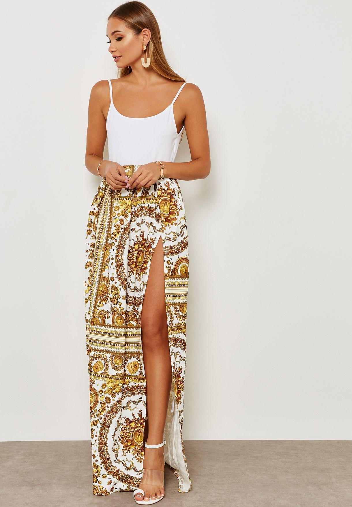 Baroque Print Wrap Front Maxi Skirt