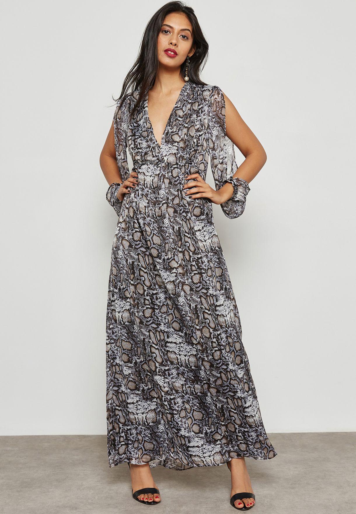 فستان مكسي بطبعات