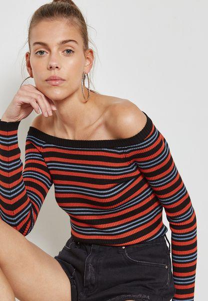 Striped Bardot Sweater