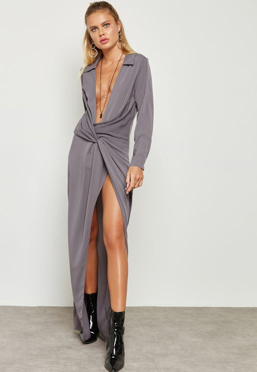 Front Twisted Wrap Plunge Dress