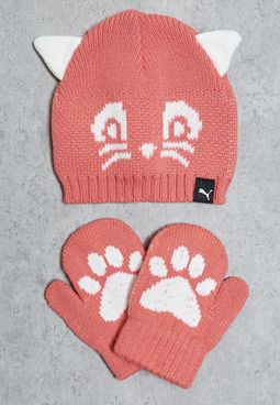 X Minicats Beanie + Gloves Set