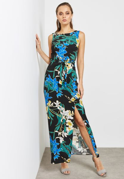 Front Split Floral Print Maxi Dress
