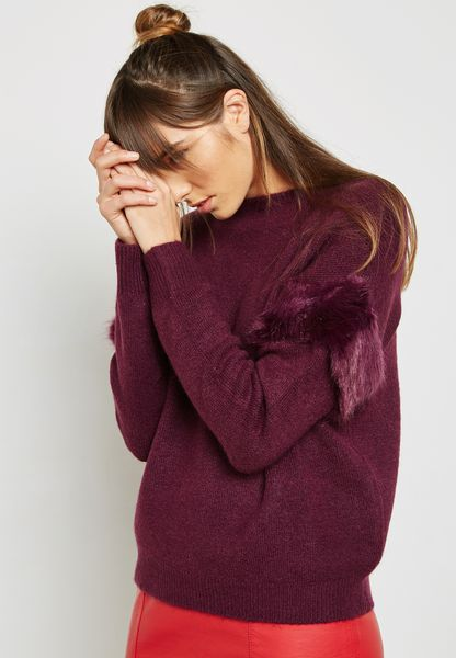 Frill Velvet Detail Sweater
