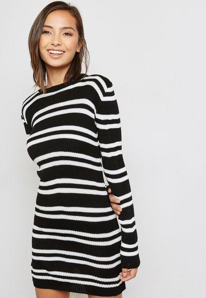 Striped Flared Sleeve Dress