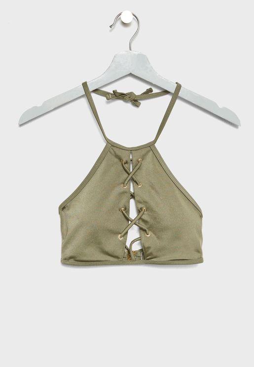 High Neck Lattice Bikini Top