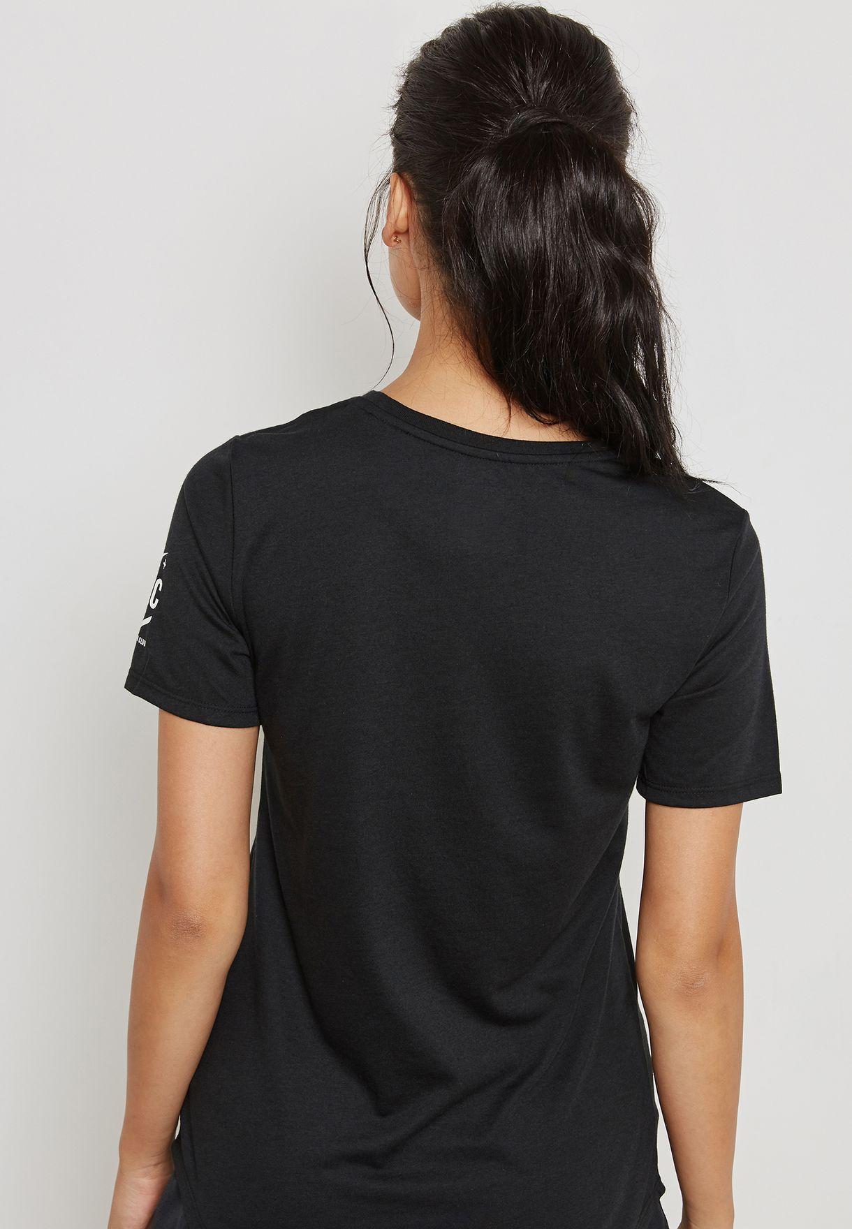 85ef6c5e0a4e Shop Nike black Dri-FIT Paris Run Club T-Shirt 876738-010 for Women ...