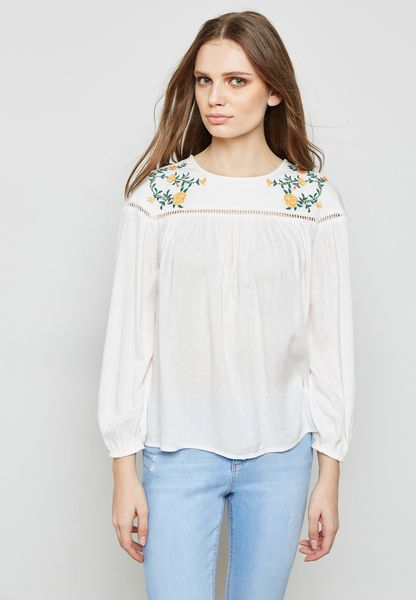 Embroidered Beaded Top