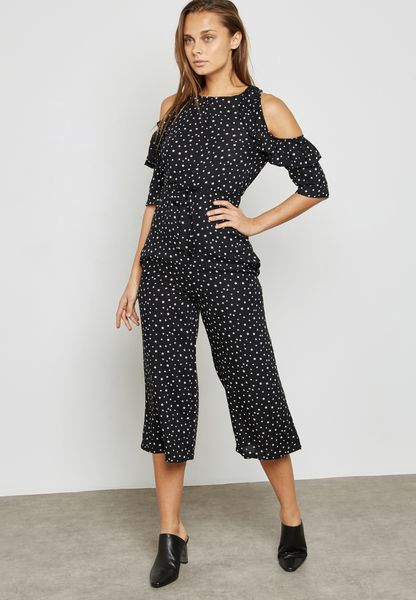 Printed Ruffle Cold Shoulder Jumpsuit