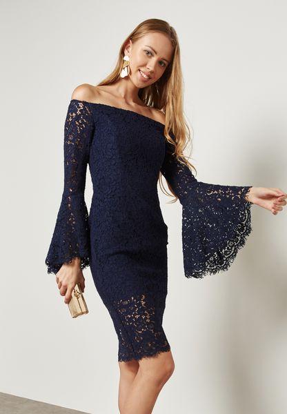 Flute Sleeve Lace Bardot Dress